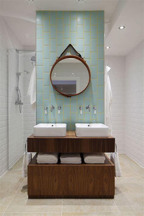 trendy twist   timeless color scheme bathrooms  blue