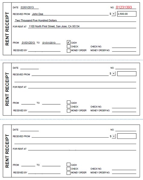 Printable Rent Receipt In Pdf Form Free Rent Receipt Template