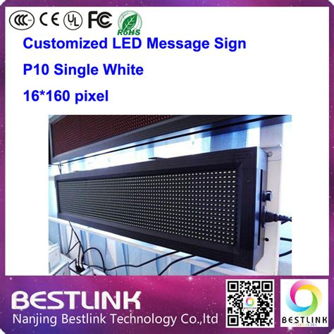 Running Text 20 X 135 Indoor p10 outdoor led sign single white 16 160 pixel led message sign board running text advertising