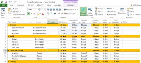 Project Requirements Template Excel by Free Project Management Templates