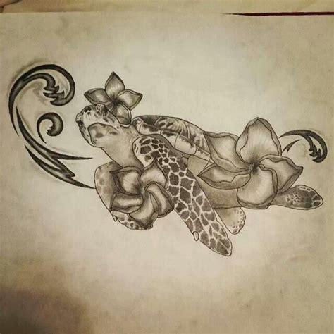polynesian turtle hawaiian flowers tattoo tattoo ideas sea turtle hawaiian flowers waves ocean tattoo drawing