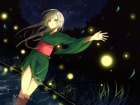 anime girl with fireflies fireflies and the kimono 2 other anime background