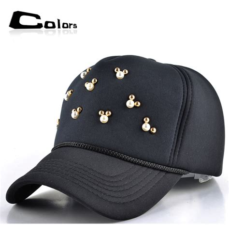 adjustable mesh baseball cap cotton pearl gorras