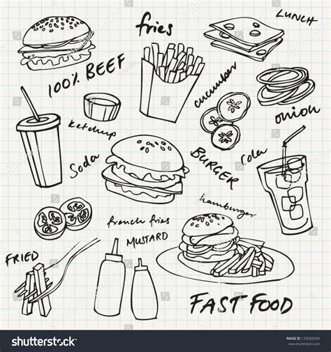 fast food doodle god fast food hamburger doodle set stock vector 129582059