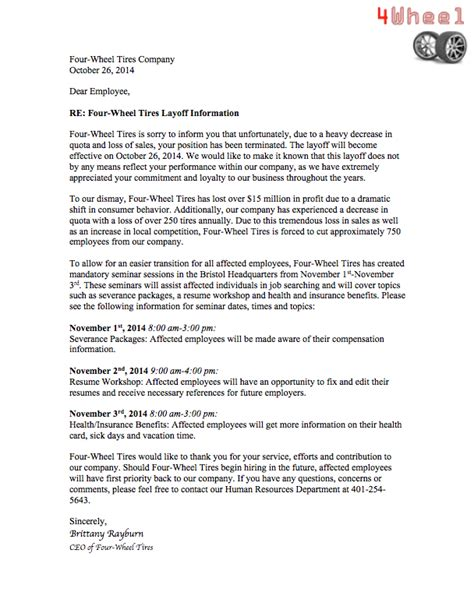sle letter notifying a termination letter sle redundancy 28 images redundancy