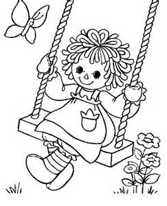 raggedy ann playing swing in raggedy ann and andy coloring