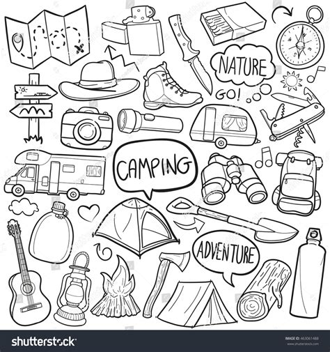 doodle adventure cing adventure doodle icons made stock vector