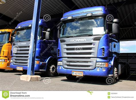 Truck Carport Scania Trucks In Carport Editorial Photo Image 33230061
