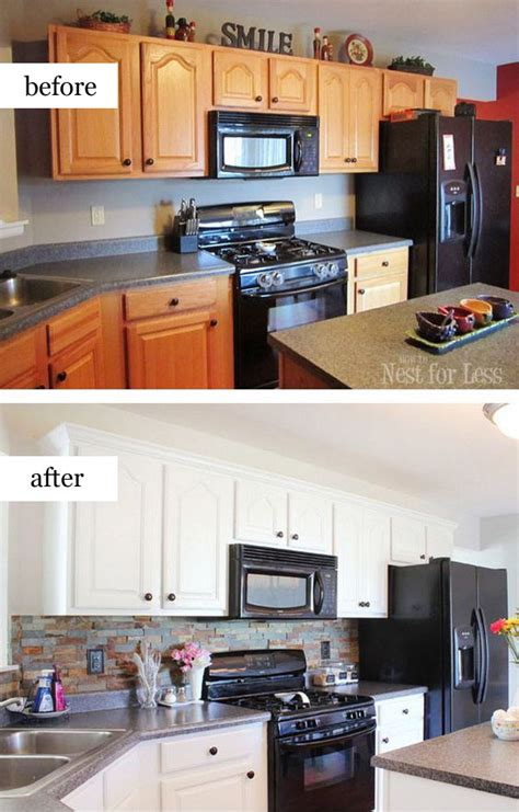 Pretty Before And After Kitchen Makeovers Noted List Painted Black Kitchen Cabinets Before And After