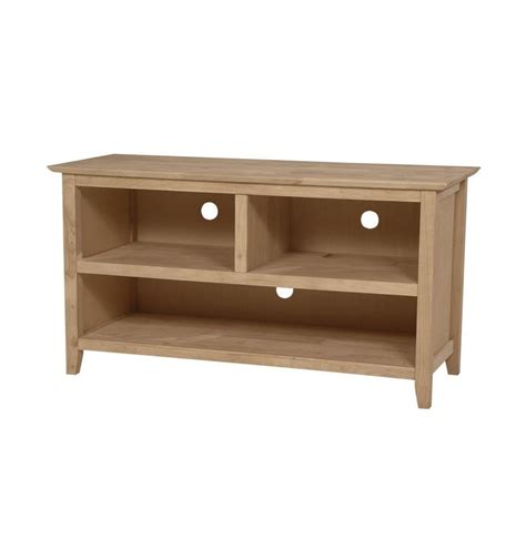 [45 Inch] Shaker Open TV Console   Bare Wood Fine Wood Furniture   Groton, CT