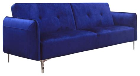 arie tufted fabric sofa bed with chrome legs cobalt blue
