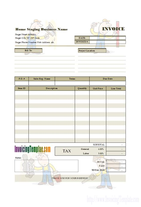 Tax Invoice Format Software For Interior Design Home Staging Estimate Templates