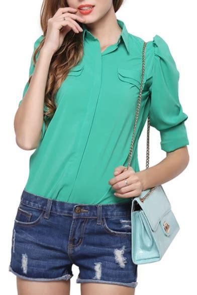 Plain Sleeve Chiffon Shirt plain lapel sleeve single breasted chiffon shirt