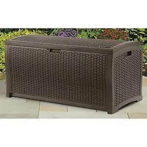 Deck Box Cushion Suncast Mocha Wicker Resin Deck Box Outdoor Patio Cushion