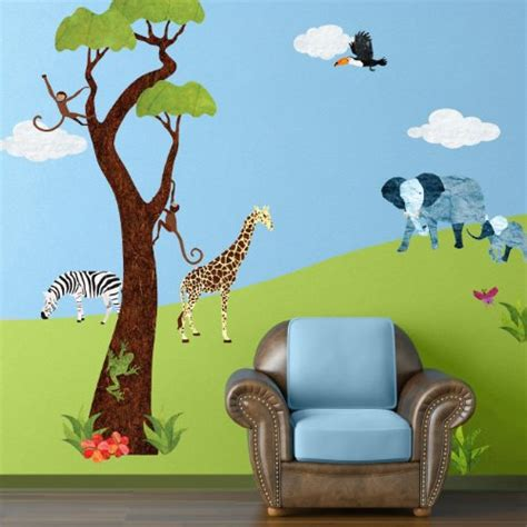 Jungle Wall Decals For Nursery Black Friday Jungle Wall Stickers For Baby Room Repositionable Removable Jungle Theme Wall