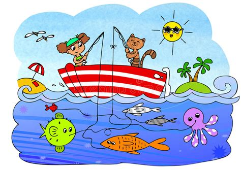fish computer game cartoon fish boat game for children stock illustration image