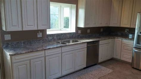 white shaker cabinets with granite silver cloud granite kitchen counter tops white shaker