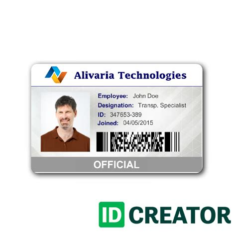 work id card template free tech employee id card from idcreator