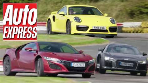 audi r8 vs porsche 911 turbo honda nsx vs porsche 911 turbo vs audi r8 v10 supercar