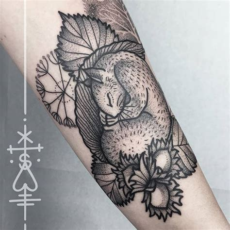 dot work squirrel tattoo by sarah herzdame