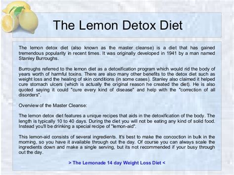 Detox Diet For The by The Lemon Detox Diet Recipe