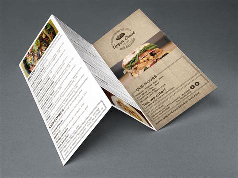 menu design mockup upper crust sandwiches restaurant menu blue ivory creative