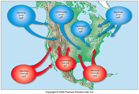 america air mass map air masses weather and air masses