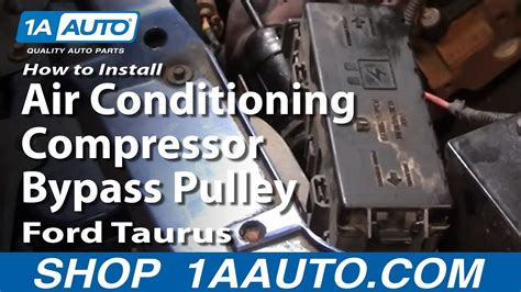how to install replace air conditioning compressor bypass pulley ford taurus 92 03 1aauto