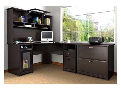 what desk is using black l shaped desk with hutch whitevan