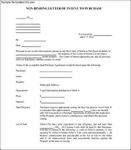 non binding letter of intent to purchase free pdf sle