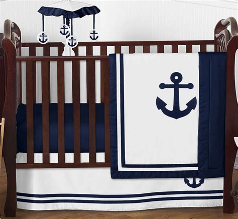 Nautical Crib Set by Sweet Jojo Navy Blue Nautical Boat Anchor Bumperless Baby