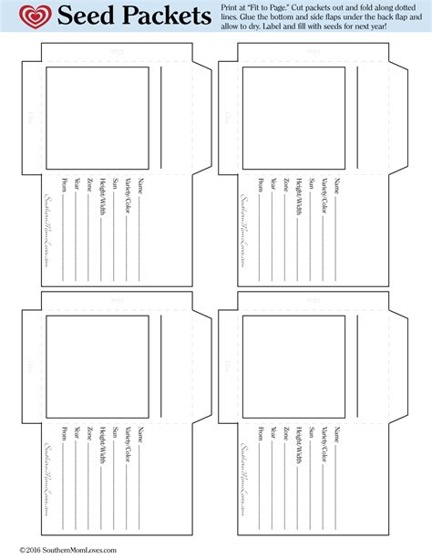 Southern Mom Loves Garden Heirloom Seed Packet Free Printable Printable Seed Packet Template