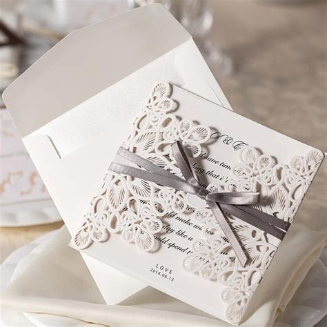 Wedding Invitation Card Envelope by New Arrive 10pcs Set Lace And Ribbon Invitations Luxurious