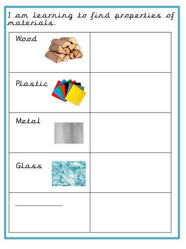 new year ks1 tes properties of materials worksheet year 1 glass wood