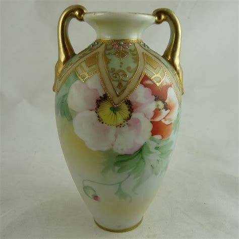 Nippon Vase Value by Nippon Porcelain Two Handled Vase Painted Poppies
