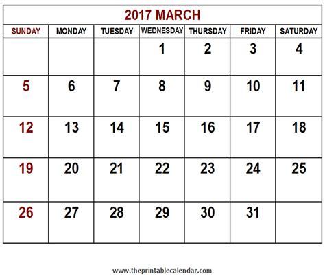 Calendar March 2017 Printable 2017 March Calendar
