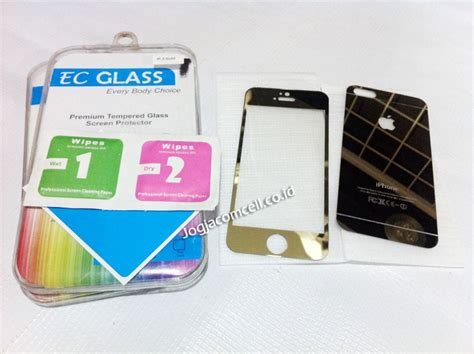Temperedglass Iphone 5 tempered glass iphone 5 gold front back ec glass