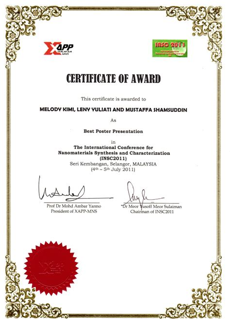 international conference certificate templates best poster award certificate template images