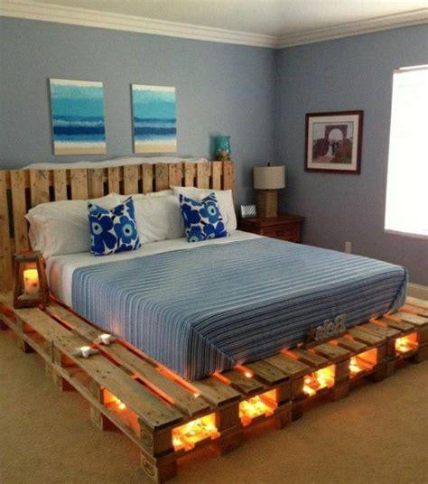 cama con estibas cama de palet con luces camas pinterest camas luces