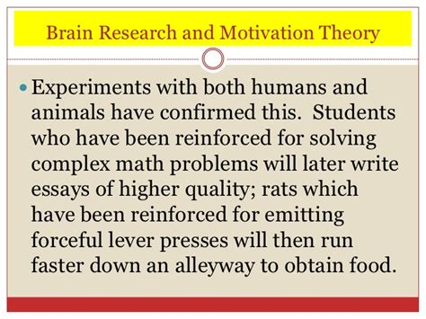 research paper on motivation theories the brain and learning ppt 2012