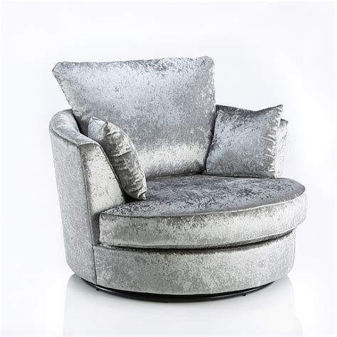 Glider Sofa Chair by Glider Swivel Sofa Chair In Silver Fabric With Metal Base