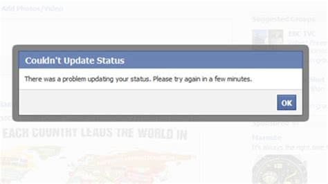fb error facebook down users unable to update status southern eye