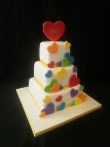 rainbow hearts wedding cake cakecentral com