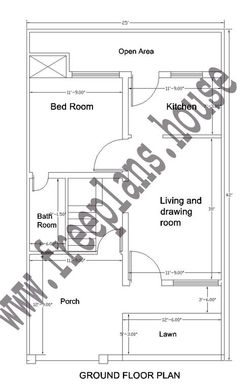 sqft to sqmeter 25 215 42 feet 97 square meter house plan