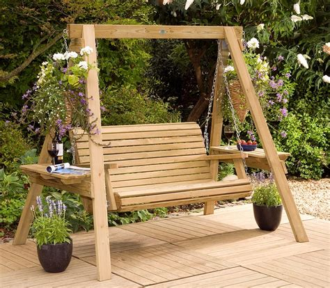 outdoor wooden swing garden swings the enchanting element in your backyard