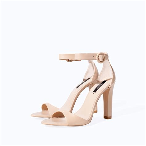 sandal heels for wide zara leather wide heel sandal in beige lyst