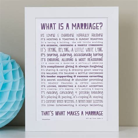 'what is marriage?' poem typographic print by bespoke