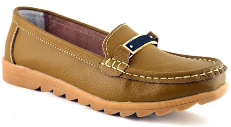 bar comfort shoes ladies womens leather low wedge slip on moccasin bar