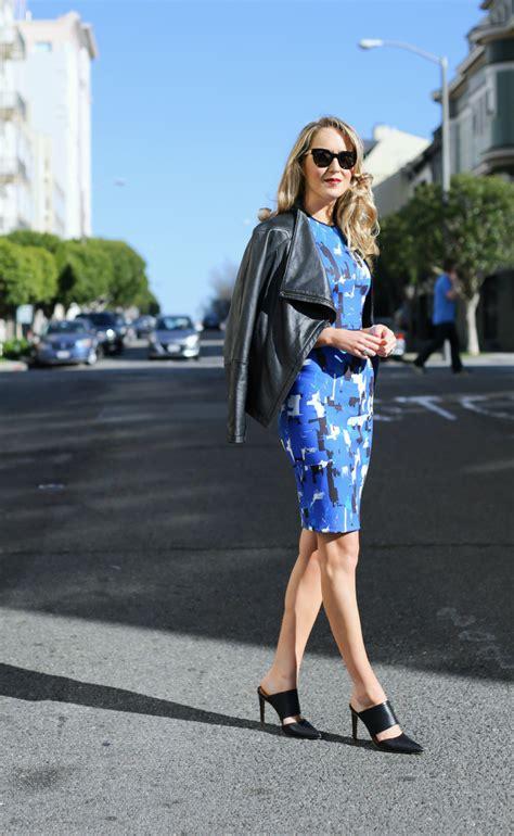 creative work wear abstract cobalt blue black white crop