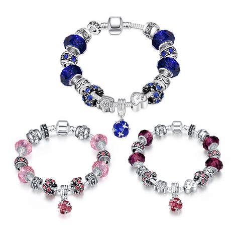 glass bead charm bracelet pink purple blue murano glass charm bracelets for
